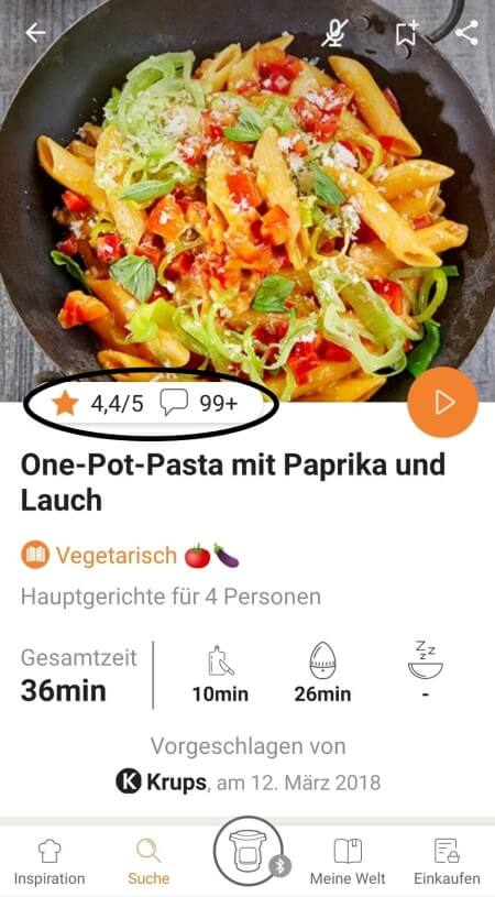highlighting rating & comments feature from recipe page in the Prep&Cook app
